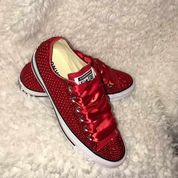 dbccd50fcb22 All Red bling converse